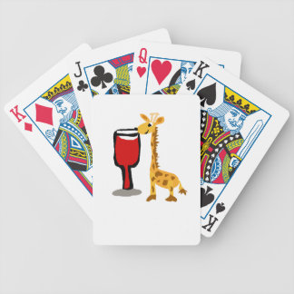 Funny Giraffe drinking Red wine Cartoon Bicycle Playing Cards