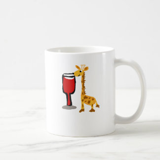 Funny Giraffe drinking Red wine Cartoon Coffee Mug