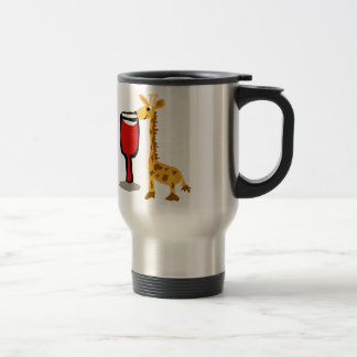 Funny Giraffe drinking Red wine Cartoon Travel Mug