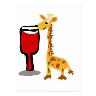 Funny Giraffe Drinking Red Wine Postcard