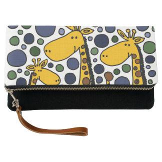 Funny Giraffe Family Abstract Clutch Bag