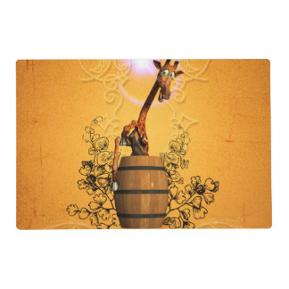 Funny giraffe in a barrel laminated place mat