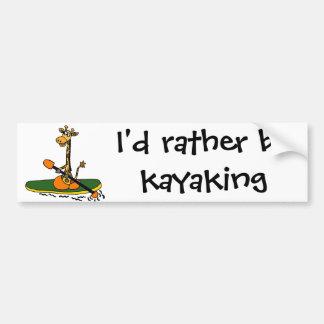 Funny Giraffe in Kayak Car Bumper Sticker