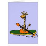 Funny Giraffe in Kayak Greeting Card