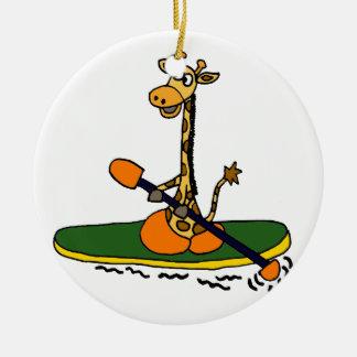 Funny Giraffe in Kayak Ornaments
