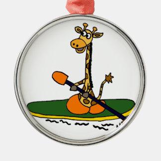 Funny Giraffe in Kayak Christmas Tree Ornament
