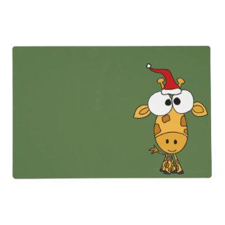 Funny Giraffe in Santa Hat Christmas Art Laminated Place Mat