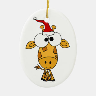Funny Giraffe in Santa Hat Christmas Art Double-Sided Oval Ceramic Christmas Ornament