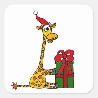 Funny Giraffe in Santa Hat Christmas Design Square Sticker