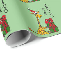 Funny Giraffe in Santa Hat Christmas Design Wrapping Paper