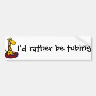 Funny Giraffe is Tubing Bumper Sticker