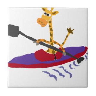 Funny Giraffe Kayaking Ceramic Tile