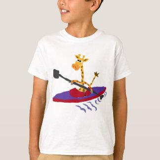 Funny Giraffe Kayaking T-Shirt