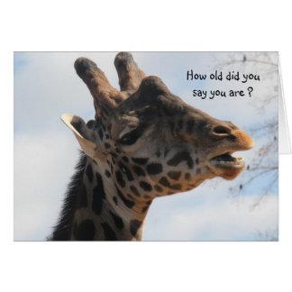 Funny Giraffe Old Age Birthday Card