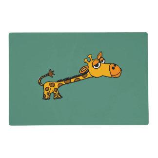 Funny Giraffe Original Art Cartoon Laminated Placemat