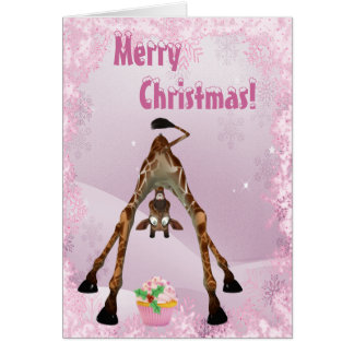 Funny Giraffe Pink Cupcake Christmas Card