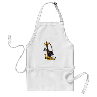 Funny Giraffe Playing Bagpipes Art Adult Apron