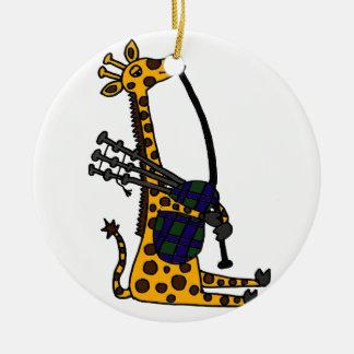 Funny Giraffe Playing Bagpipes Art Ceramic Ornament