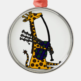 Funny Giraffe Playing Bagpipes Art Metal Ornament