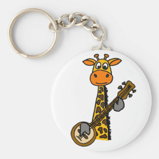 Funny Giraffe Playing Banjo Art Keychain