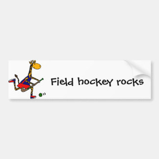 Funny Giraffe Playing Field Hockey Bumper Sticker
