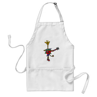 Funny Giraffe Playing Red Guitar Adult Apron