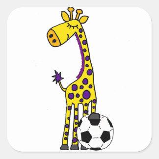 Funny Giraffe Playing Soccer cartoon Square Sticker
