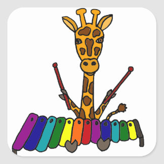 Funny Giraffe Playing Xylophone Cartoon Square Sticker
