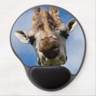 Funny giraffe portrait gel mouse pad