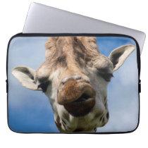 Funny giraffe portrait laptop sleeve