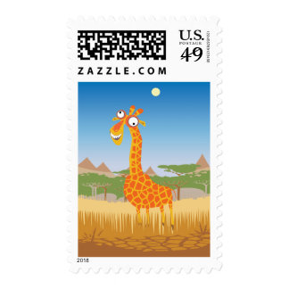 Funny Giraffe Postage Stamp