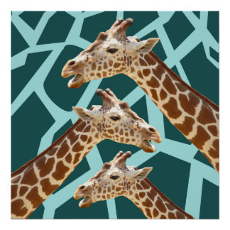 Funny Giraffe Print Teal Blue Wild Animal Patterns