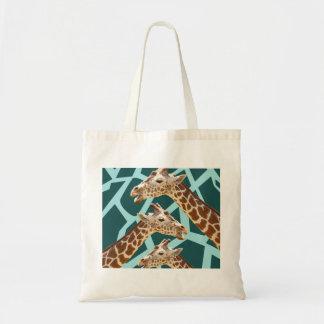 Funny Giraffe Print Teal Blue Wild Animal Patterns Budget Tote Bag