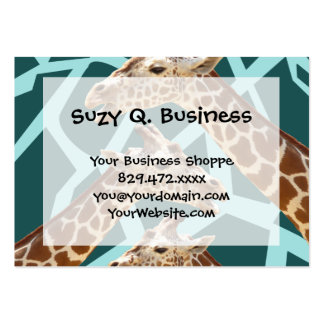Funny Giraffe Print Teal Blue Wild Animal Patterns Business Card Template