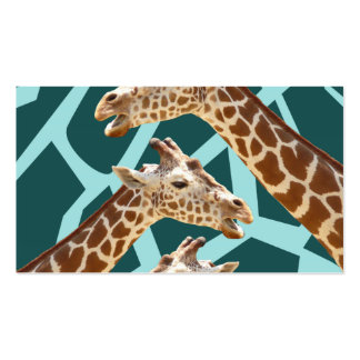 Funny Giraffe Print Teal Blue Wild Animal Patterns Business Card Templates
