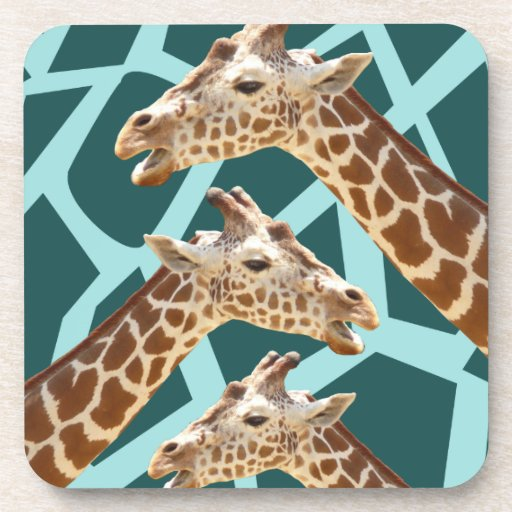 Funny Giraffe Print Teal Blue Wild Animal Patterns Drink Coaster