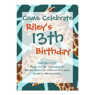 Funny Giraffe Print Teal Blue Wild Animal Patterns Custom Invites