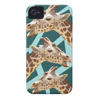 Funny Giraffe Print Teal Blue Wild Animal Patterns iPhone 4 Case
