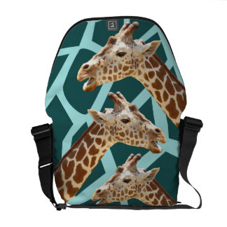 Funny Giraffe Print Teal Blue Wild Animal Patterns Messenger Bag