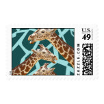 Funny Giraffe Print Teal Blue Wild Animal Patterns Stamps