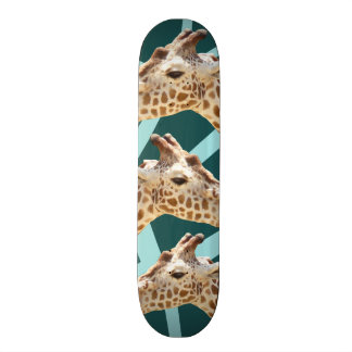 Funny Giraffe Print Teal Blue Wild Animal Patterns Skate Board