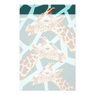 Funny Giraffe Print Teal Blue Wild Animal Patterns Stationery