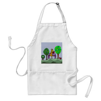 Funny Giraffe Reading at the Park Adult Apron