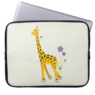 Funny Giraffe Roller Skating 15in Computer Sleeve
