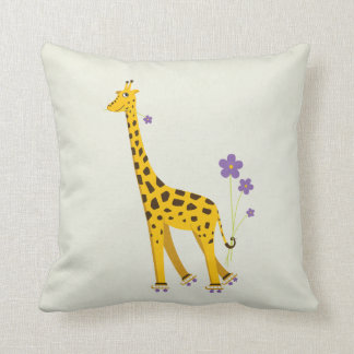 Funny Giraffe Roller Skating Children s Pillows
