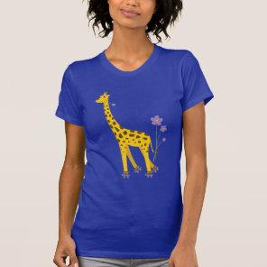 Funny Giraffe Roller Skating Dark Womens T-Shirt
