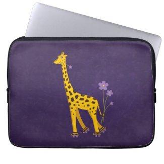 Funny Giraffe Roller Skating Purple 13in