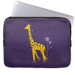 Funny Giraffe Roller Skating Purple 13in Computer Sleeves