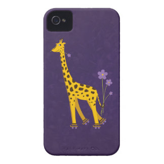 Funny Giraffe Roller Skating Purple Case-Mate iPhone 4 Case
