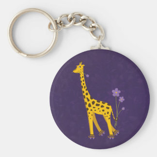 Funny Giraffe Roller Skating Purple Keychain